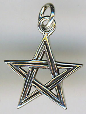 """925 Sterling Silver Small Pentagram Pendant 13mm Diameter  without the bail 1/2"""""""