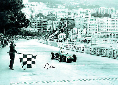 Stirling MOSS Signed Autograph 16x12 Motor Racing Legend Monaco Win Photo AFTAL