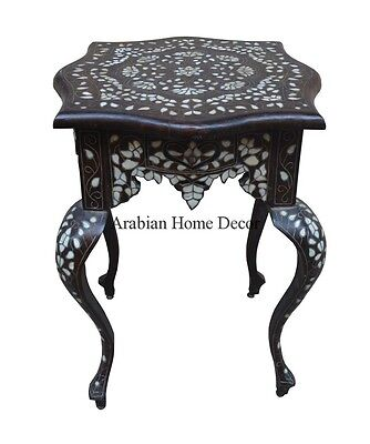 Antique Handcrafted Syrian Mother of Pearl Coffee Side End Table with drawer