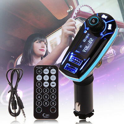 Wireless Bluetooth LCD Car Kit MP3 Player FM Transmitter SD TF Dual USB Charger
