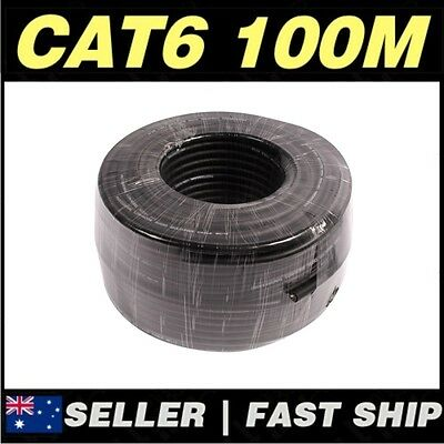 Black 100M CAT6 UTP Solid CCA Core Network Ethernet LAN Cable Roll **AU STOCK**