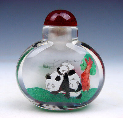 Peking Glass Inside Reverse Hand Painted Lovely Pandas Snuff Bottle #01021604