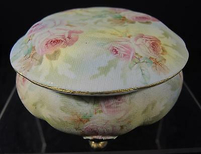 Antique Royal Bayreuth Rose Tapestry Covered Footed Box