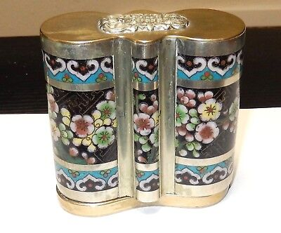 Rare Old Chinese Bronze Bat Design Cloisonne Enamel Large Opium Canister Jar Box