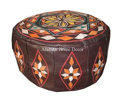 Moroccan Genuine Brown Leather Pouf Pouffe Ottoman Hassock Footstool