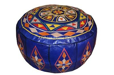 Moroccan Genuine Blue Leather Pouf Pouffe Ottoman Hassock Footstool