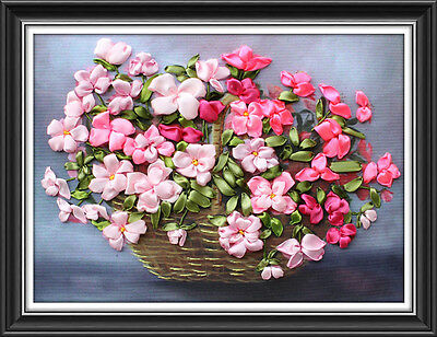 Ribbon Embroidery Kit A basket of Gardenia Needlework Craft Kit RE3023