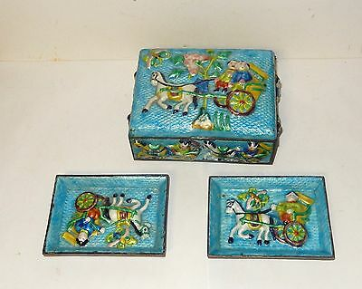 Rare Old Chinese Horses Repousse Cloisonne Enamel Humidor Box And Trays Set