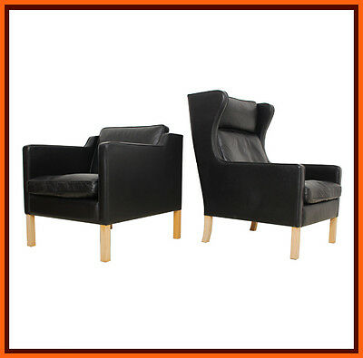 60s 70s retro DANISH BLACK LEATHER FEATHER MOGESNEN CLUB CHAIRS classic vintage