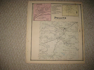 Antique 1867 Poland Kennedy Mud Creek Chautauqua County New York Handcolored Map