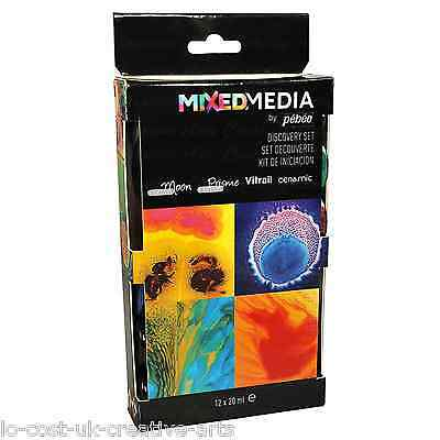 PEBEO DISCOVERY MIXED MEDIA SET- VITRAIL, MOON, PRISME, CERAMIC PAINT 12 x 20ml