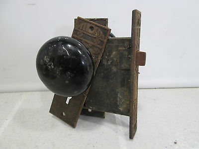 Vintage Eastlake Metal Door Backplates and Black Glass Knob Set & Lock