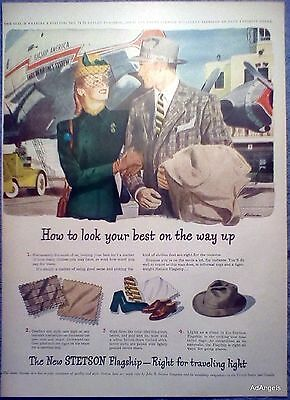 1948 Stetson Flagship Hat American Airlines Plane Ben Prins Tarmac Couple ad