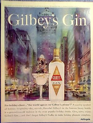 1961 Gilbeys Gin New York City Park Avenue Christmas Holiday De Lattre ad