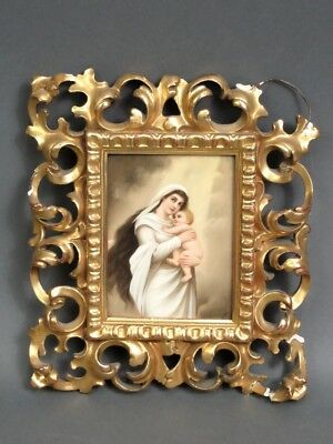 Antique Madonna & Child Baby Jesus Framed Painting On German Porcelain Plaque