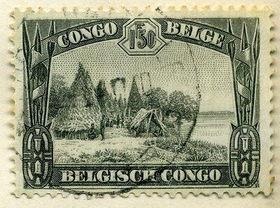 BELGIUM CONGO;  1932 early Pictorial issue fine used 1.50Fr. value