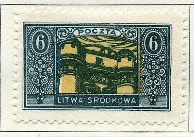 LITHUANIA;  1921 ( Central ) early issue fine Mint hinged 6f. value