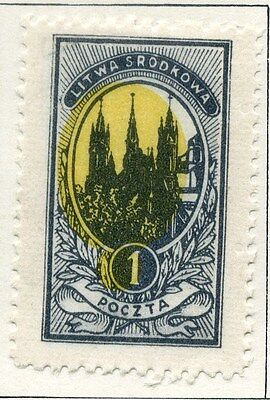 LITHUANIA;  1921 ( Central ) early issue fine Mint hinged 1f. value