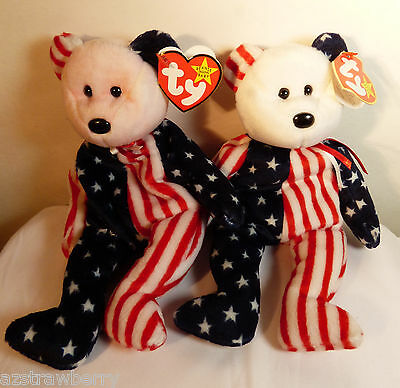 Set of 2 Ty Beanie Baby Spangle RARE Tie Dye Pink & white Head with tags