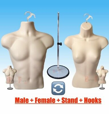 2 Mannequin 1 Stand 2 Hanger Male Female Flesh Dress Torso Form Display Clothing