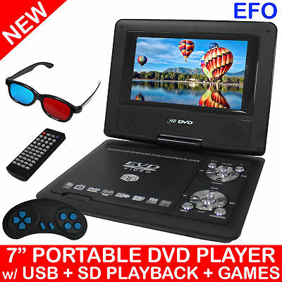 """Portable 7"""" Lcd Dvd Player Rechargeable Battery Usb Sd Game Avi Mpeg4 Mp3 Divx"""