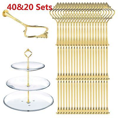 40 Set 2/3 Tier Cake Plate Cupcake Stand/Rack Fittings Handle Rod Wedding Party