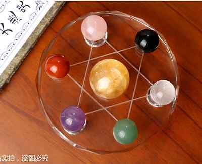 Feng Shui Multicolor crystal balls Seven Star Array Exorcise Statue With Shelf