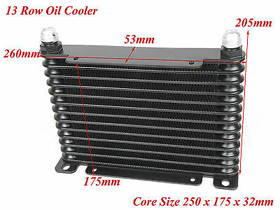 Universal Black 13 Row Upgrade Oil Cooler 250mm 175mm x 32mm AN-10 Thread