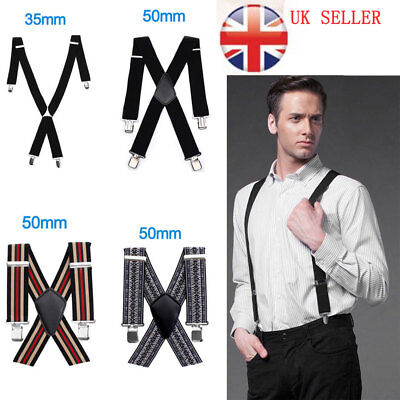 Mens Ladies Unisex Adjustable Slim Braces Trouser Suspenders Clip On Fancy Dress