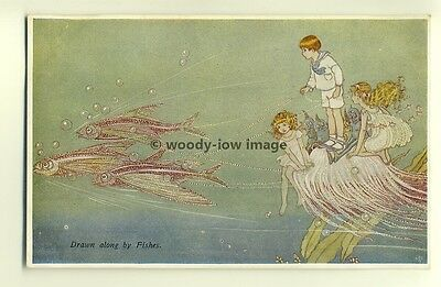 su1283 - Ida Outhwaite - Drawn Along By Fishes - postcard