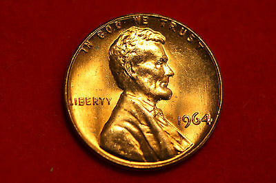 1964 RED Lincoln Cent, DEEP RED, NEVER SPENT !! FROM MINT BAG