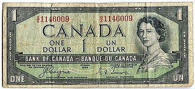 1954 Canada $1 Devils Hair Head Bank of Canada Note / Currency - JR439