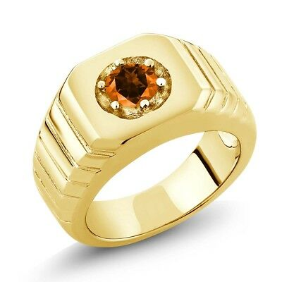 925 Yellow Gold Plated Silver Ring Set with Round Poppy Topaz from Swarovski