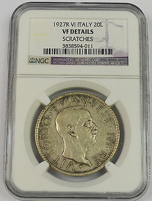 1927 R Italy 20 Lire Silver. NGC VF Details