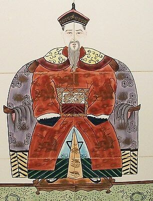 Hand Painted Chinese Emperor Wall Tile Painting Signed
