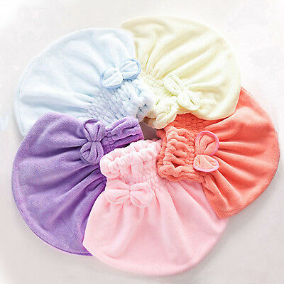 New Lady Hair Drying Towel Hat Absorbent Microfiber Shower Cap Bowknot Turban
