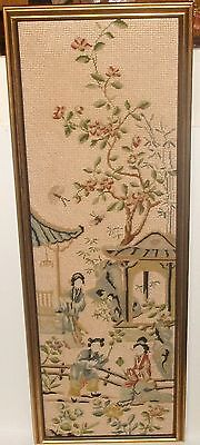 Japanese Silk People Temple Embroidery Tapestry Painting