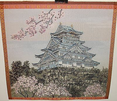Japanese Landscape Temple Pink Blossoms Tree Silk Embroidered Tapestry Unsigned