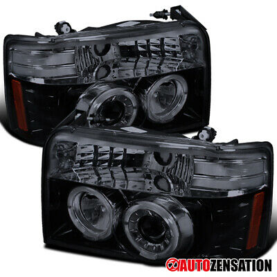 Pair Black Halo Projector Headlights w// LED Parking Lights for 92-96 Bronco F150