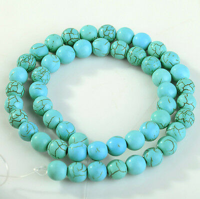 Wholesale Blue Turquoise Gemstone Round Loose Beads Fr Jewelry 4mm 6mm 8mm 10mm