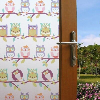 Static Cling Privacy Window Film Cute Owls Stained Glass Decor Frosted Film 1.5M