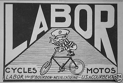 Publicité 1920 Labor Cycles Motos A Courbevoie - Advertising