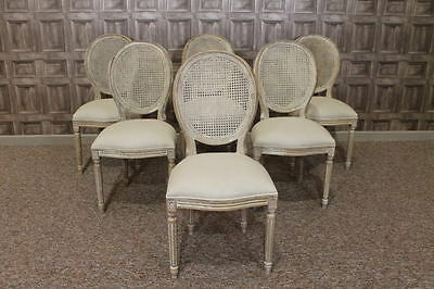 Upholstered French Style Limed Oak Bistro Dining Chairs With A Bergere Back