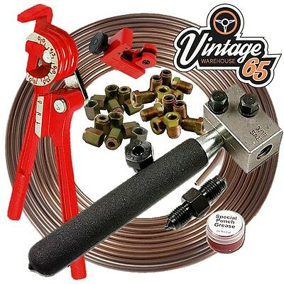 "Austin Mini Cooper 3/8"" 3/16"" Cupro Nickel Kunifer Brake Line Pipe Repair Kit"