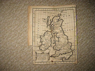 Early Antique 1744 Britain England Ireland Scotland Wales Copperplate Map Fine N