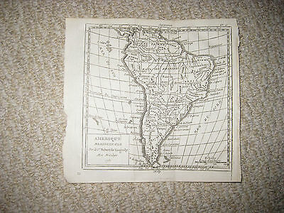 Early Antique 1750 South America Vaugondy Copperplate Map Amazon Terra Firma Nr