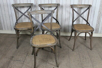 Bentwood Distressed Aged Oak Chair Dining Chair With Metal Cross Back