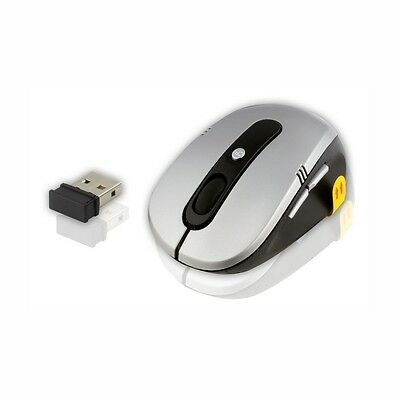Wireless Maus mit 2,40 GHz Technologie - silber - Mini Sender USB 2.0