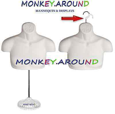 MALE MANNEQUIN,Display Clothing Dress Body Hanger Man Upper Form + Stand - WHITE