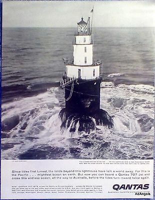 1959 Qantas Airline Lighthouse By San Francisco Golden Gate US Coast Guard ad